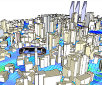 Air flow analysis of urban spaces